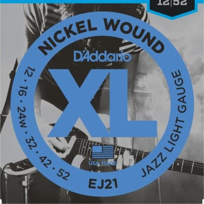 D'Addario EJ21 Nickel Wound Electric Strings -.012-.052 Jazz Light Wound 3rd