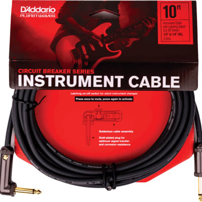 """Planet Waves PW-AGLRA-10 Latching Circuit Breaker 1/4"""" TS Straight to Right-Angle Instrument Cable - 10'"""