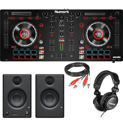 "Numark Mixtrack Platinum - DJ Controller with Jog Wheel Display for Serato DJ + PreSonus Eris E3.5 3.5"" 2-Way 25W Nearfield Monitors (Pair) + Tascam TH-02 Studio Headphones (Black) and RCA Cable."