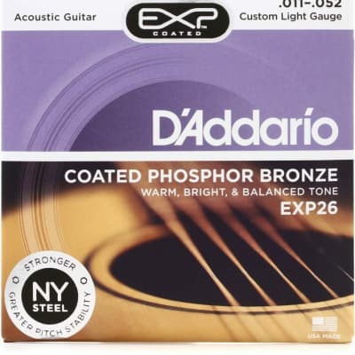D'Addario EXP26 Coated Phosphor Bronze Acoustic Strings: 11-52 (Custom Light)