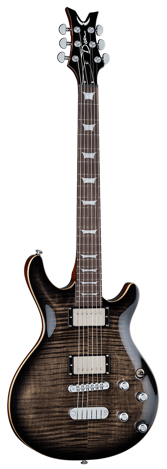 Dean Icon  X Flame Top Charcoal Burst
