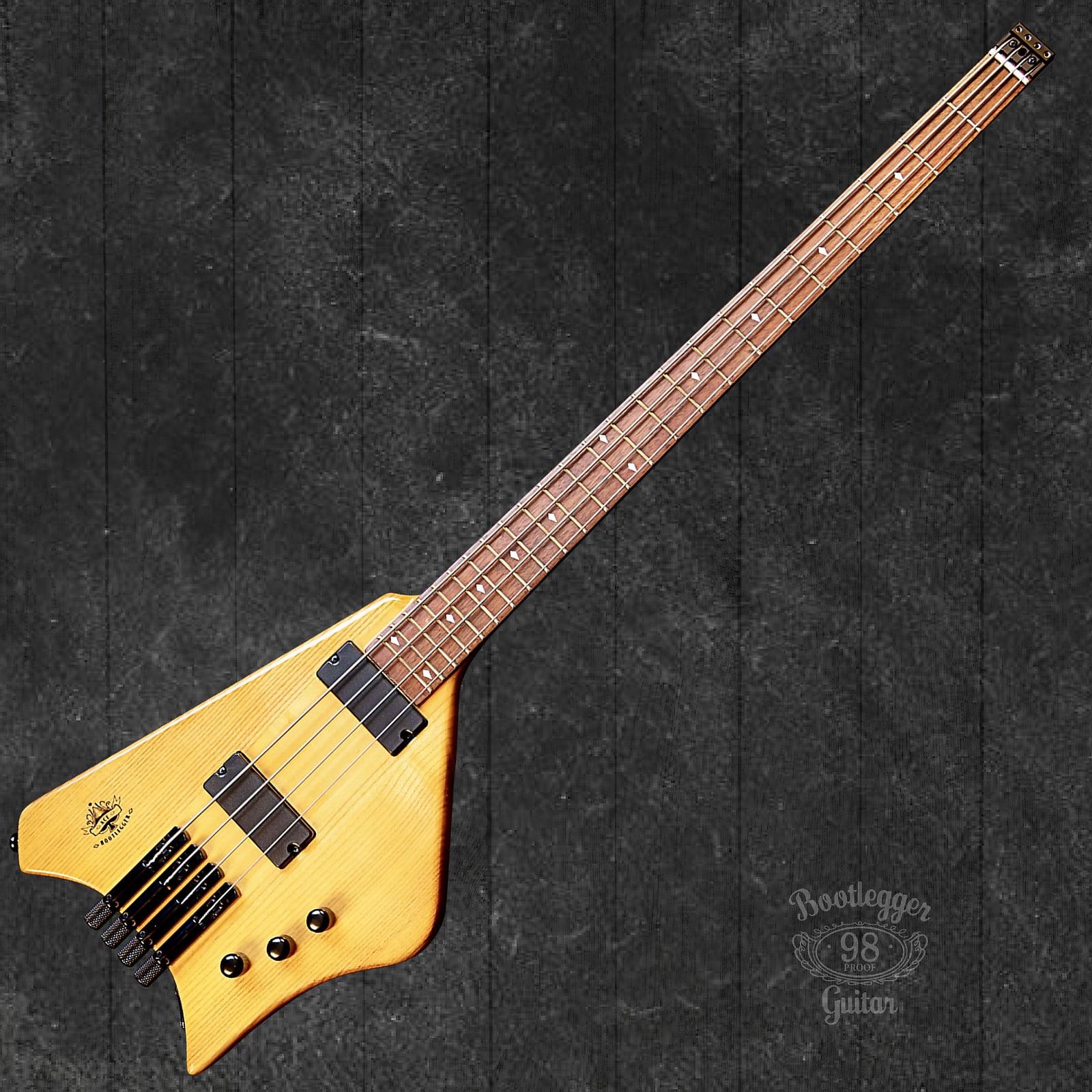 BootLegger Guitar Ace Headless Bass Honey Clear With Stiletto Case & Flask