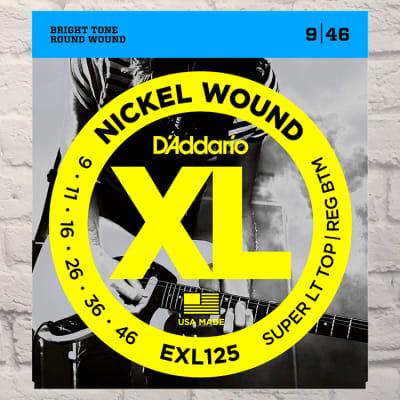 D'Addario EXL125 Super Light Top Regular Bottom Nickel Wound Electric Guitar Strings 9-46