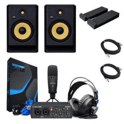 New KRK Rokit 5 Gen 4 RP5 G4 Studio Monitors w/PreSonus AudioBox 96 - 25th Anniversary Studio Bundle