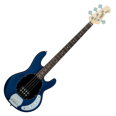 Sterling by Music Man Sub Ray4 Electric Bass Guitar, Trans Blue Satin for sale