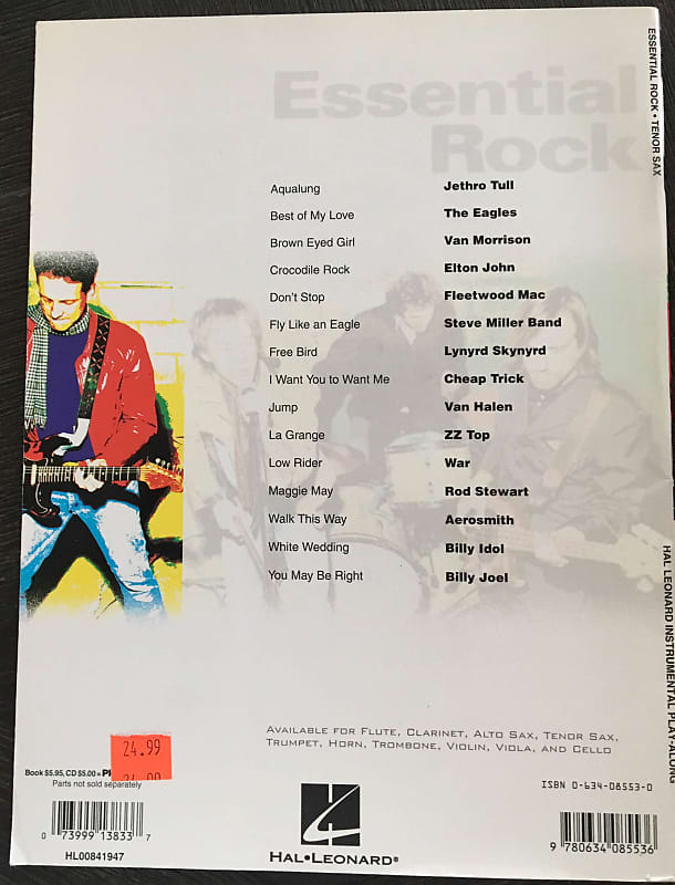 Essential Rock Tenor Sax Instrumental Play-Along CD Sheet Music Song Book  Songbook