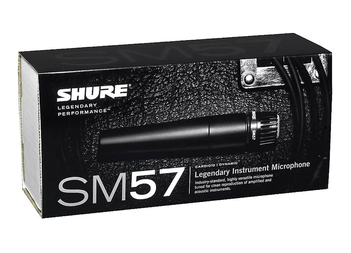 Shure SM57 Instrument, Cardioid Dynamic Microphone (with Mic clip, bag & Tie) 2020