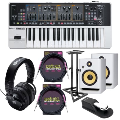 Roland GAIA SH-01 Virtual Analog Synthesizer, (2) KRK RP5G4 White, Monitor Stands, (2) ErnieBall Cables, Presonus HD9, Sustain Pedal Bundle