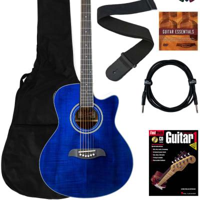 Oscar Schmidt OA10CE Mini Auditorium Cutaway Acoustic-Electric Guitar - Transparent Blue Bundle with Gig Bag, Cable, Tuner, Strap, Picks, Book, DVD, and Austin Bazaar Polishing Cloth for sale
