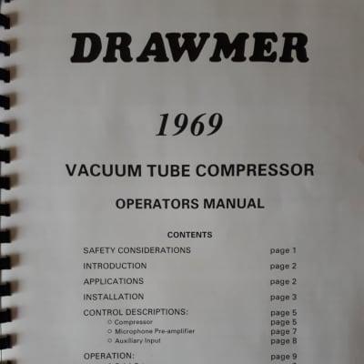 Drawmer Vacuum Tube Compressor Operators Manual  1969