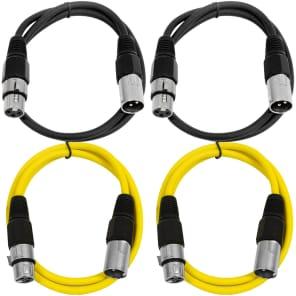 Seismic Audio SAXLX-3-2BLACK2YELLOW XLR Male to XLR Female Patch Cable - 3' (4-Pack)