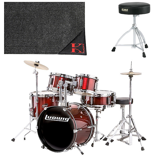 ludwig ljr1064 junior 5 piece drum set wine red with cymbals reverb. Black Bedroom Furniture Sets. Home Design Ideas