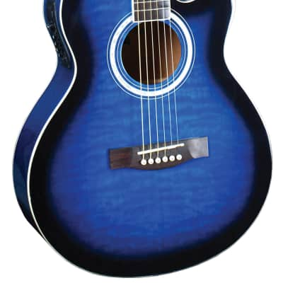 Indiana MAD-QTBL Madison Elite Deluxe Concert Cutaway 6-String Acoustic Electric Guitar - Quilt Blue