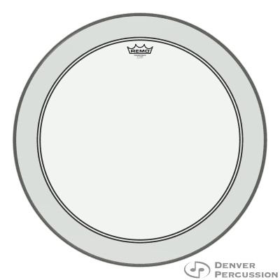"""Remo P3-1324-C2- Bass, Powerstroke 3, Clear, 24"""" Diameter, 2-1/2"""" Impact Patch"""