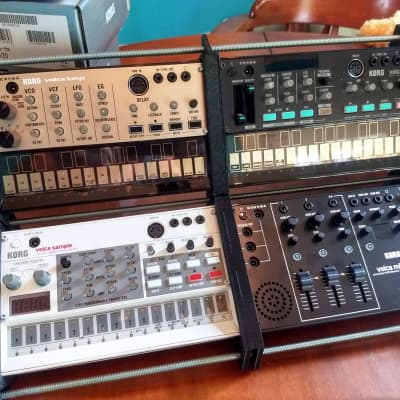 Korg Volca Custom Bundle: Sample, FM, Keys, and Mix, custom stand and cable bundle! Total package