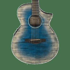 Ibanez AEWC32FM-GBL Thinline Acoustic/Electric Guitar w/ Flame Maple Top Glacier Blue Low Gloss
