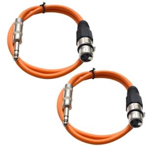 "Seismic Audio SATRXL-F3-ORANGEORANGE 1/4"" TRS Male to XLR Female Patch Cables - 3' (2-Pack)"