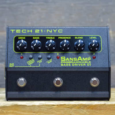 Tech 21 SansAmp Programmable Bass Driver DI 3-Channel Bass Pre-Amp Effect Pedal