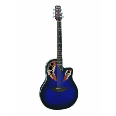 Dimavery OV-500 roundback electro-acoustic guitar flamed blue for sale