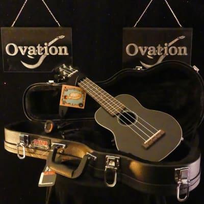 Ovation Soprano Ukulele A/E w/HSC Americana Collection™ Black UCS10-5SE for sale