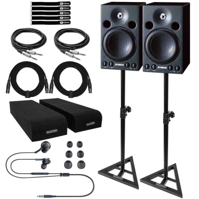 """Yamaha MSP3 4"""" 2-Way Active Powered Studio Monitor Speakers w Stands & Cables"""