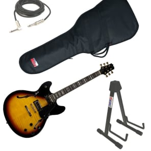 Peavey  JF-1 Semi Hollow Sunburst Electric 6 String Guitar with Stand, 1/4