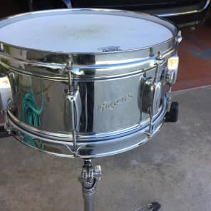 """Rogers PowerTone 6.5x14"""" 8-Lug Chrome Over Brass Snare Drum with Bread and Butter Lugs Early 1960s"""