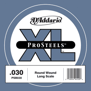 D'Addario PSB030 ProSteels Bass Guitar Single String Long Scale .030