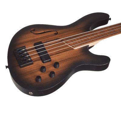 Cort B4FLMHPZOPTA Artisan Series B4FL MHPZ Mahogany Chamber Fretless 4-String Electric Bass Guitar