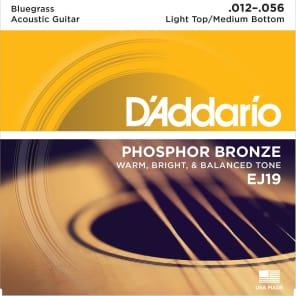 D'Addario EJ19 Phosphor Bronze Acoustic Guitar Strings, Custom Bluegrass Gauge