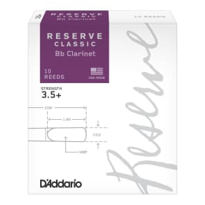 Rico DCT10355 Reserve Classic Bb Clarinet Reeds - Strength 3.5+ (10-Pack)