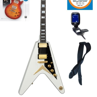 Dean Guitars Christian Martucci V Electric Guitar, CMV VWH, Book Bundle
