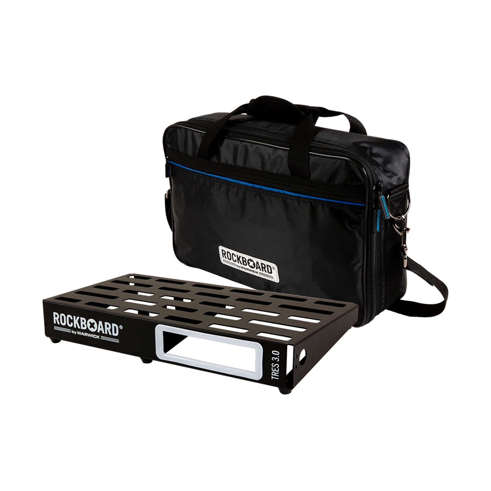 "RockBoard TRES 3.0, Pedalboard with Gig Bag, for 5-10 effects pedals (approx. 17.3"" x 9.3"")"