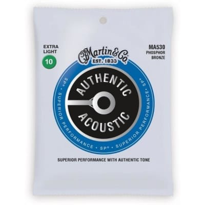 Martin Strings MA530 Phosphor Bronze Authentic Acoustic Guitar Strings Extra Light 10-47 for sale