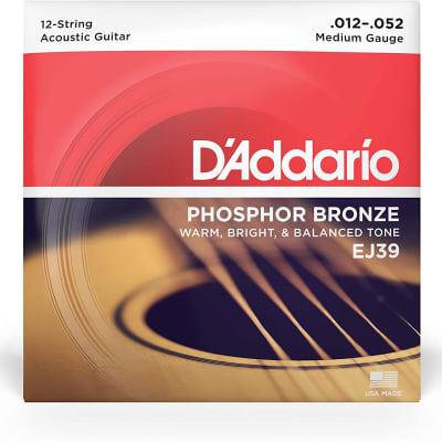 D'addario Phosphor Bronze Acoustic Guitar Strings 12 String - EJ39 12 String Med 12-52
