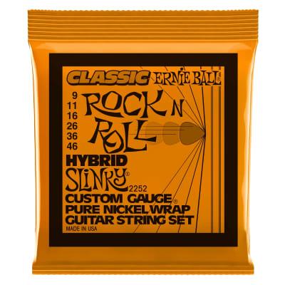 Ernie Ball Hybrid Slinky Classic Rock n Roll Pure Nickel Wrap Electric Guitar Strings - 9-46 Gauge