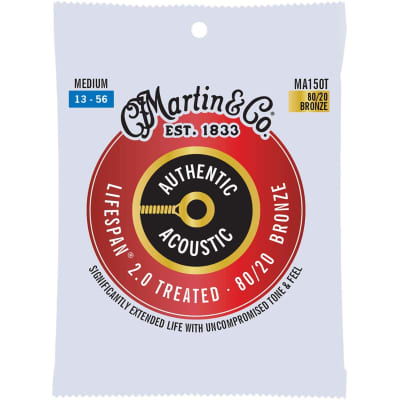 Martin MA150T Authentic Acoustic Treated Lifespan 80/20 Bronze Acoustic Strings, Medium Gauge 13-56