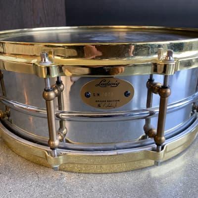 "Ludwig LB400BTM Brass Edition Supraphonic 5x14"" 10-Lug Brass Snare Drum with Tube Lugs, P-86 Millennium Strainer"