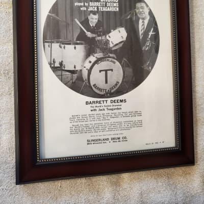 1962 Slingerland Drums promotional Ad Framed Barrett Deems, Jack Teagarden Original
