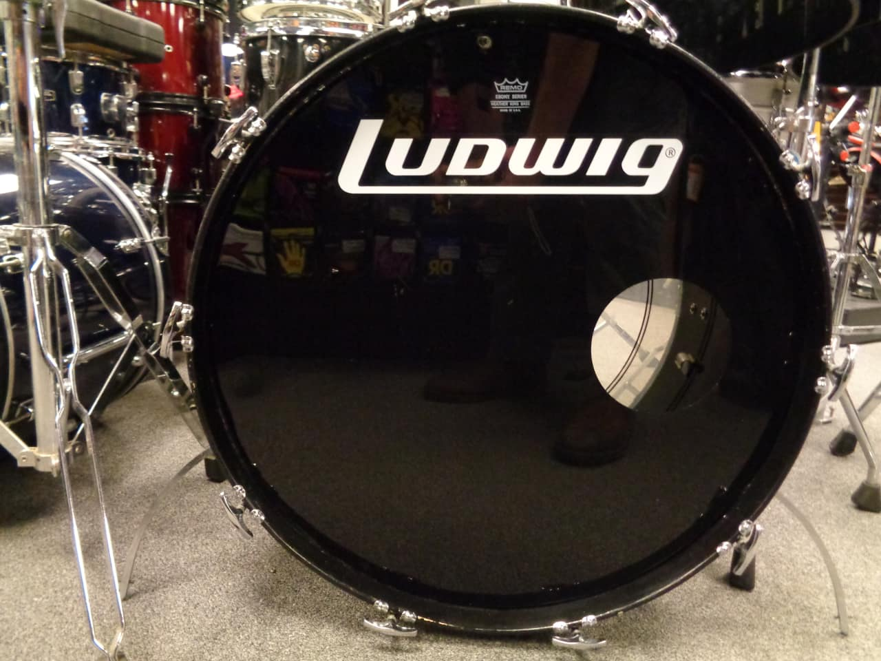 Ludwig vistalite 4 piece 1974 black reverb for 13 inch floor tom