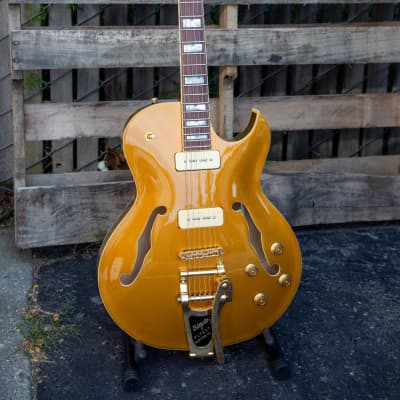 Prestige NYS Deluxe MG Arched Maple Top Seymour Duncan Bigsby Hollowbody Guitar 2018 Metallic Gold for sale