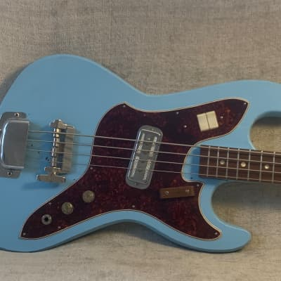 1967 Harmony H25 Silhouette Bass USA Daphne Blue Amateur Refinish Fair Condition for sale