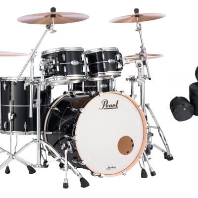 Pearl Masters Complete Quicksilver Black 22x18_10x7_12x8_16x16 Shell Pack +GigBags Authorized Dealer