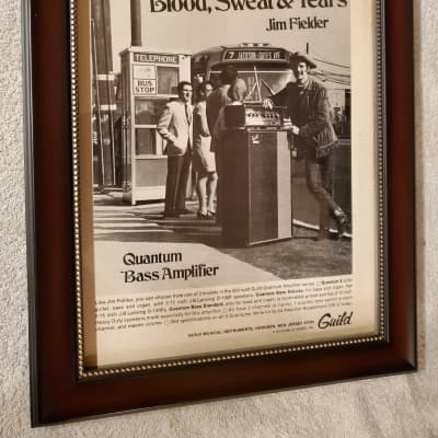 1969 Guild Guitars Promotional Ad Framed Jim Fielder Blood, Sweat & Tears Quantum Bass Amp Original