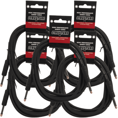 5 PACK Black Strukture 6ft Instrument Cable Thick ABS sleeve SC06 Lifetime Warranty!