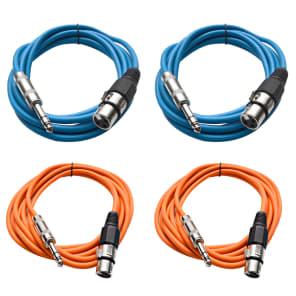 """Seismic Audio SATRXL-F10-2BLUE2ORANGE 1/4"""" TRS Male to XLR Female Patch Cables - 10' (4-Pack)"""