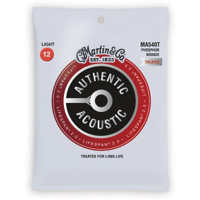 Martin Authentic Acoustic Strings Lifespan Treated Phosphor Light 12-54 MA540T