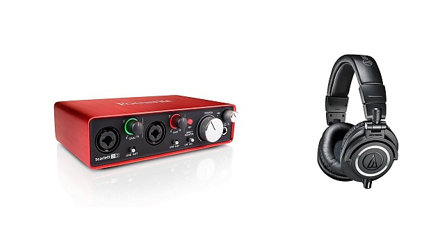 Focusrite Scarlett 2i2 (2nd Gen) w/ Audio-Technica ATH-M50x Headphones