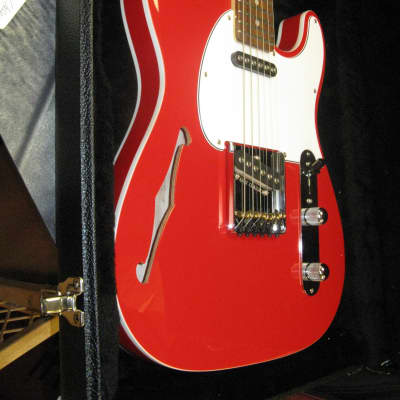 G&L USA ASAT Classic Semi-Hollow Rally Red Double Bound Body, Matching Red Headstock