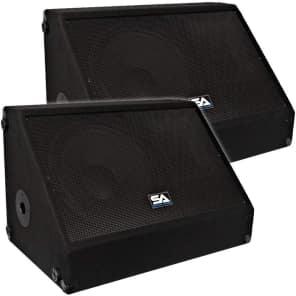 """Seismic Audio SA-12MX Passive 1x12"""" Titanium Horn 250w Floor Monitor Wedge Speakers (Pair)"""